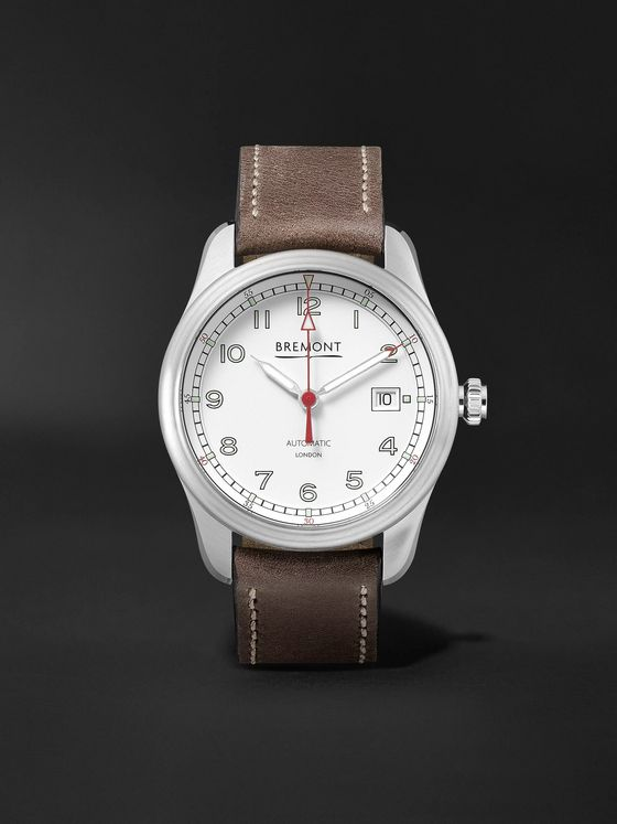 BREMONT Airco Mach 1 White Automatic 40mm Stainless Steel and Leather Watch, Ref. AIRCO-M1-WH-R-S
