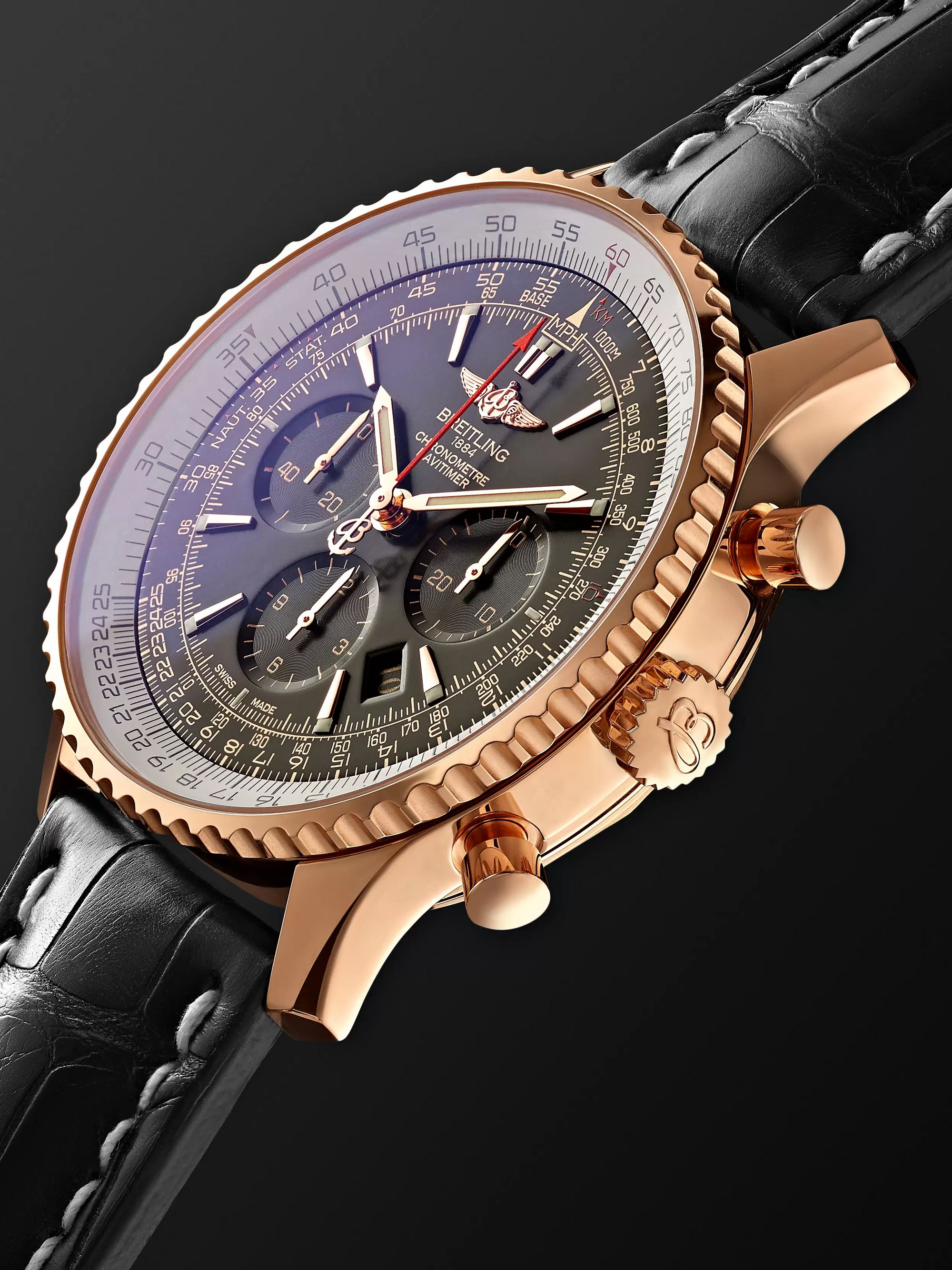 Breitling Navitimer 1 Chronometer 46mm 18-Karat Red Gold and Crocodile Watch, Ref. No. RB0127E6/BF16/760P/R20BA.1