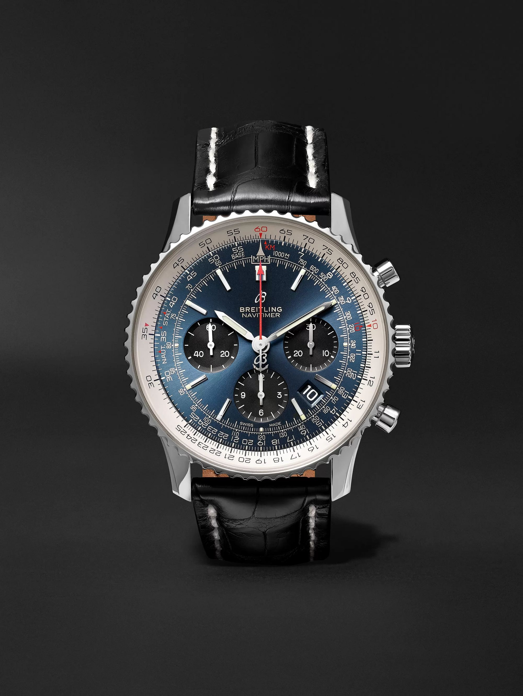Breitling Navitimer 1 B01 Chronometer 43mm Stainless Steel and Alligator Watch, Ref. No. AB0121211C1P1