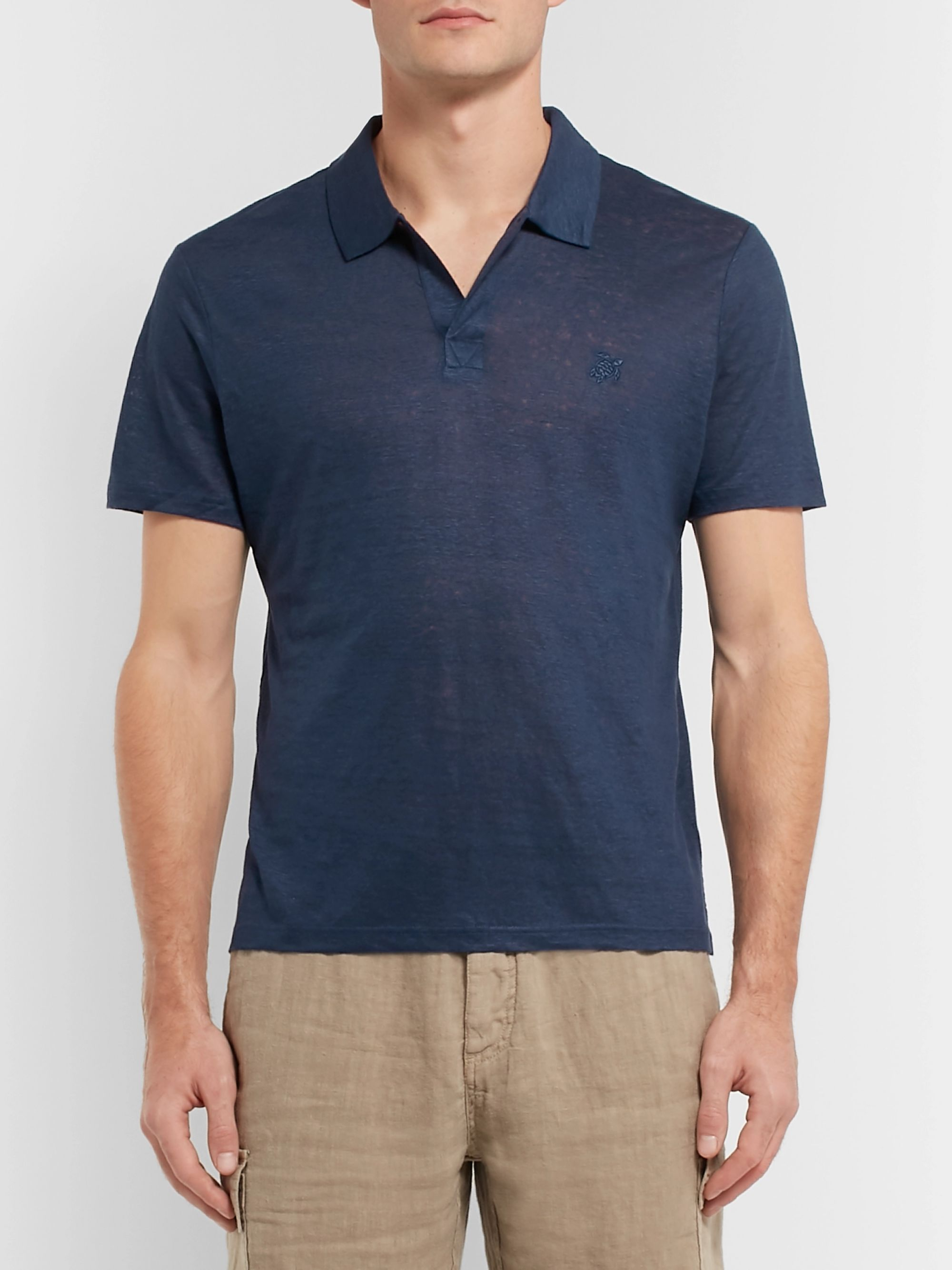 Vilebrequin Pyramid Slim-Fit Linen-Jersey Polo Shirt