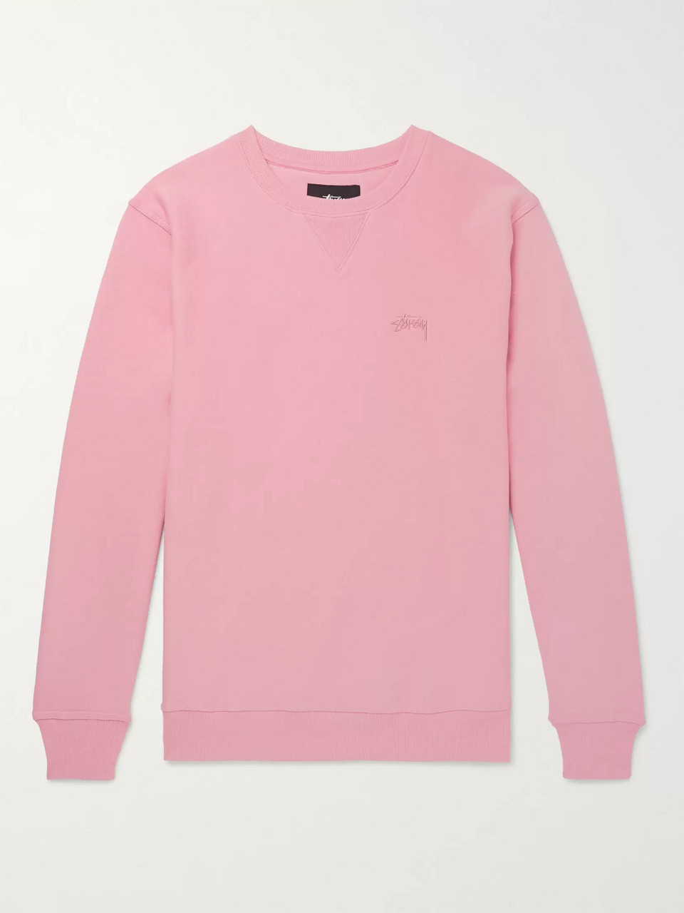 Stüssy Logo-Embroidered Loopback Cotton-Jersey Sweatshirt