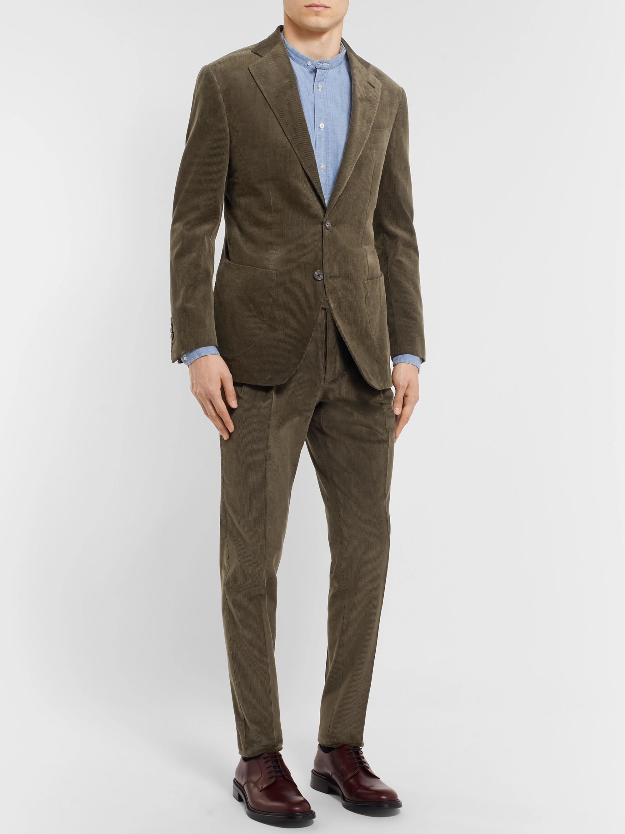 e3959dd218 Army-Green Slim-Fit Cotton-Corduroy Suit Trousers