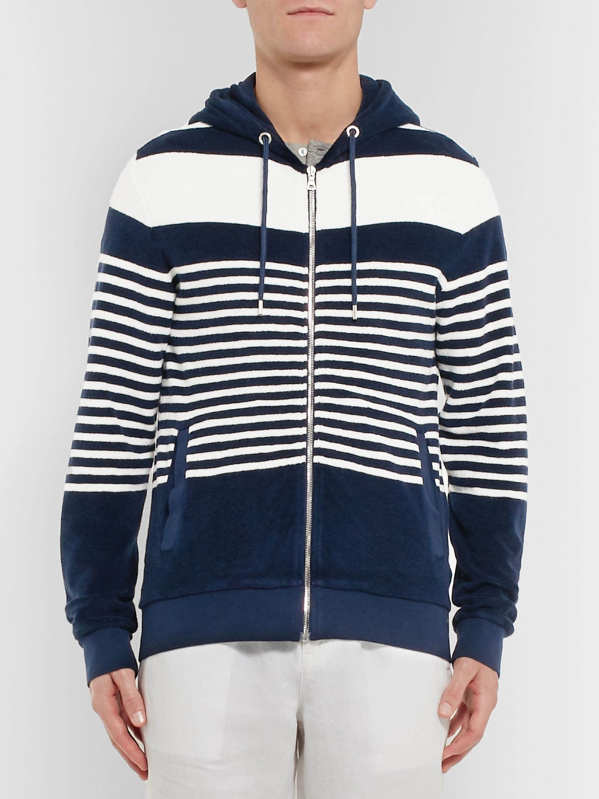 Orlebar Brown Striped Cotton-Terry Zip-Up Hoodie