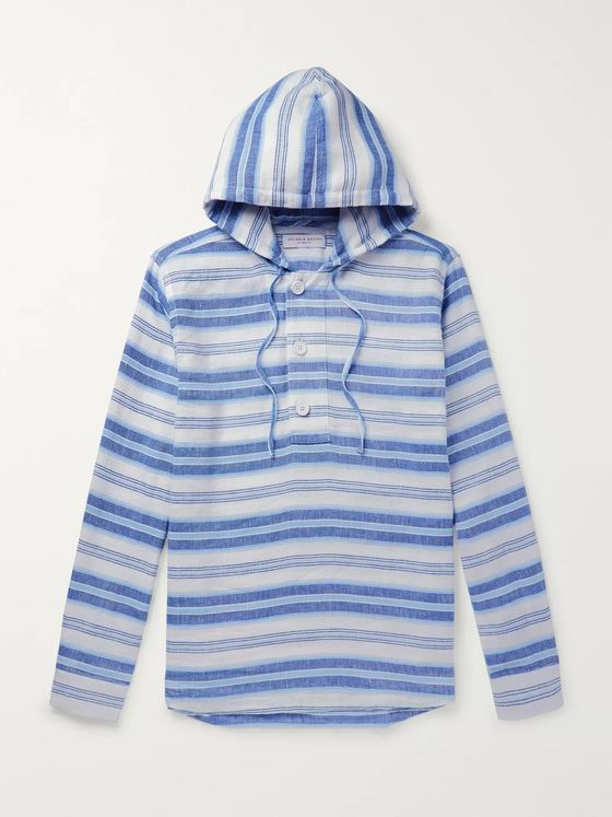 Orlebar Brown Penley Striped Linen and Cotton-Blend Hoodie
