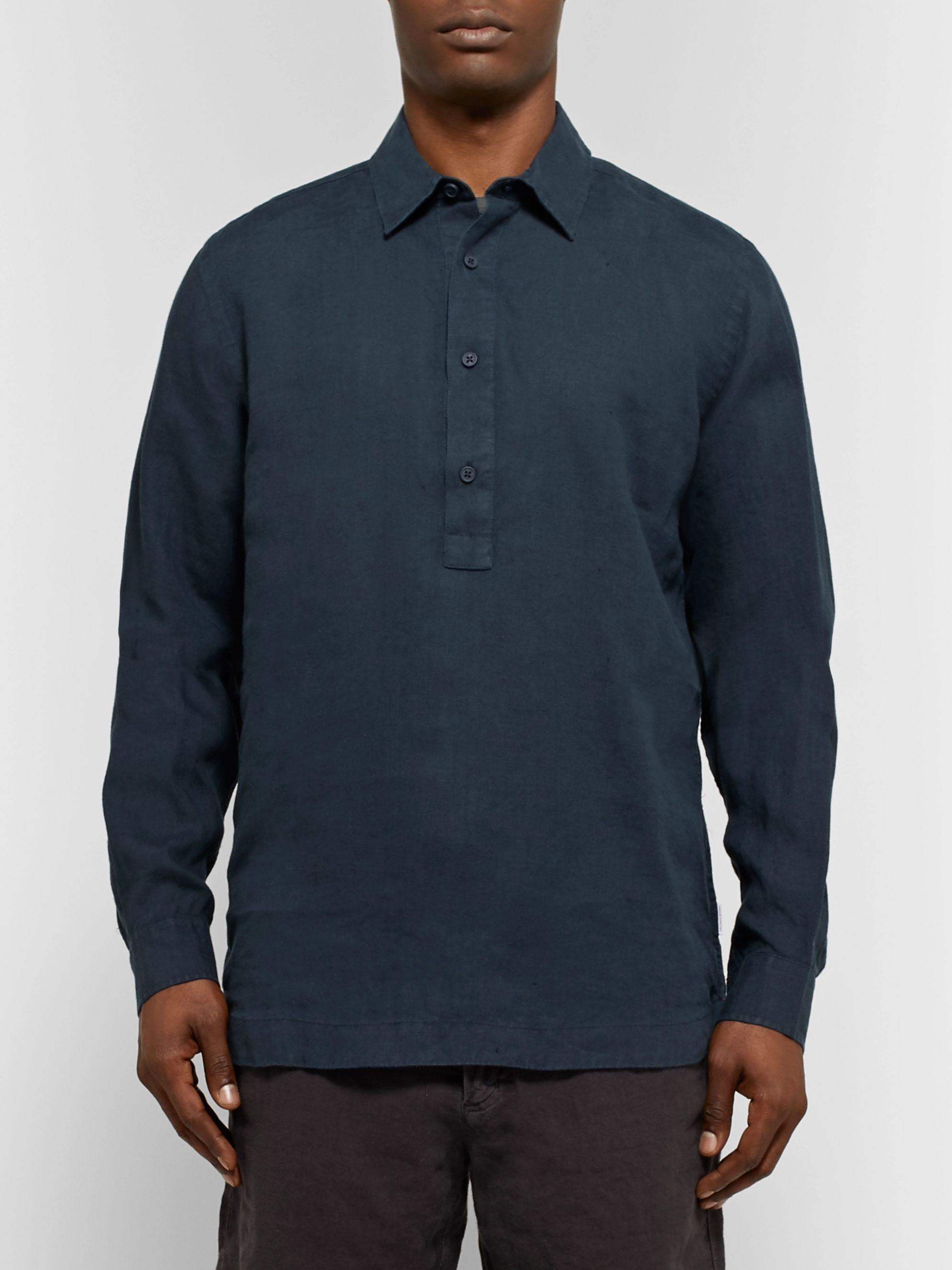 Orlebar Brown Ridley Slub Linen Half-Placket Shirt
