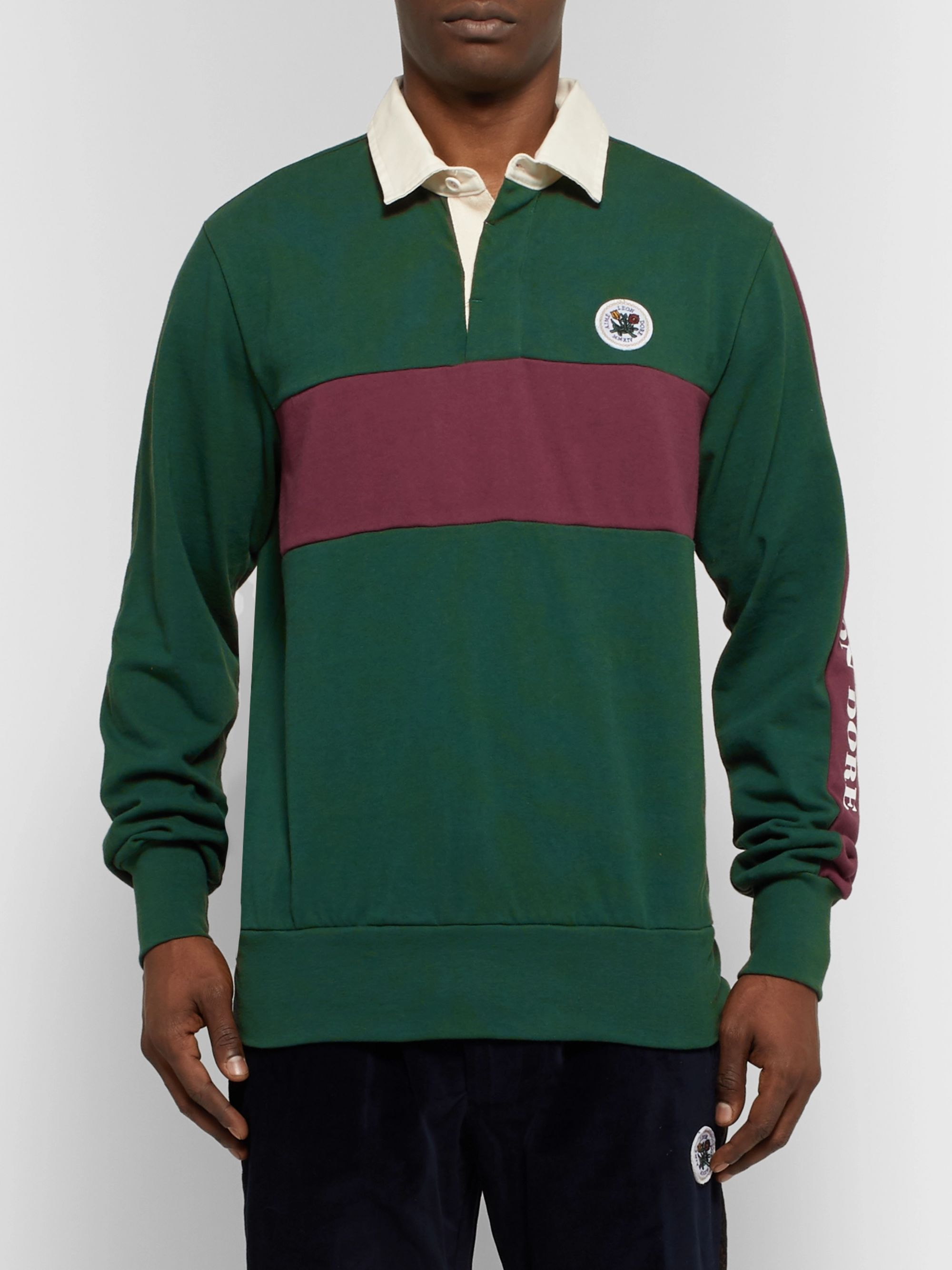 Aimé Leon Dore Twill-Trimmed Striped Cotton-Jersey Rugby Shirt
