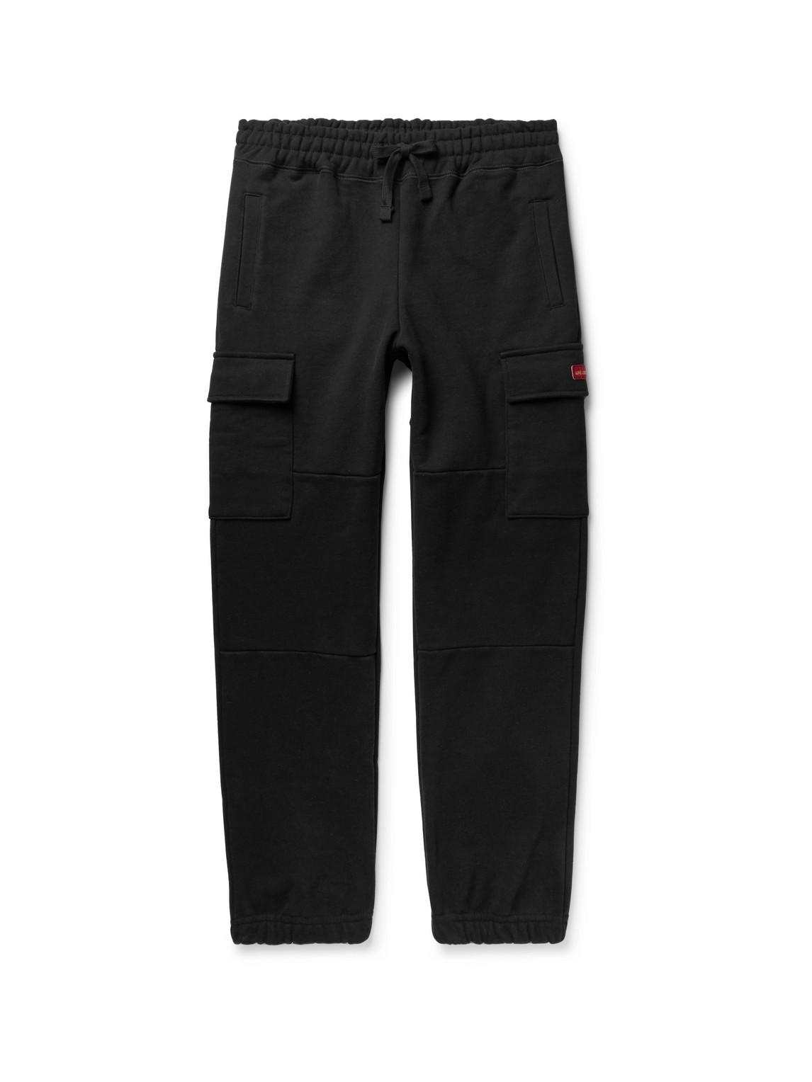 aimé leon dore - tapered loopback cotton-jersey cargo sweatpants - men - black - xl