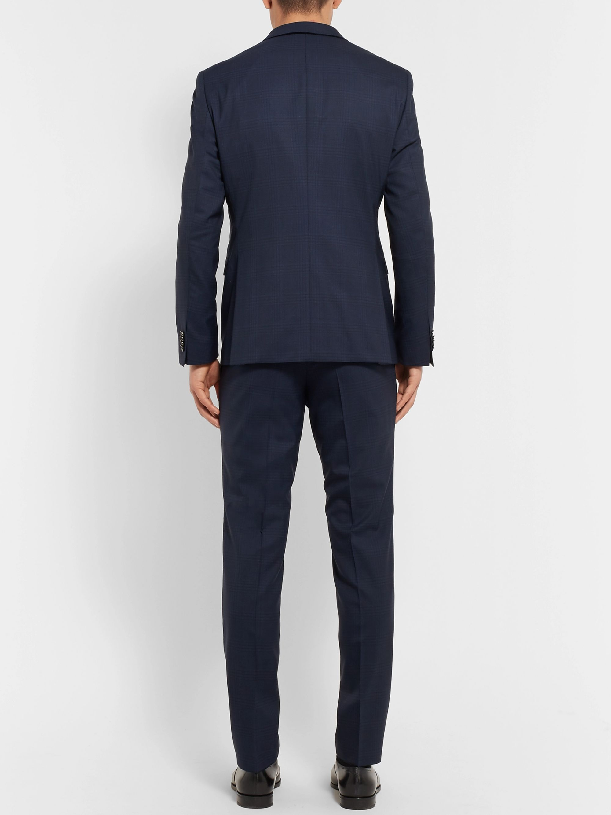 Hugo Boss Navy Reymond/Wenten Slim-Fit Checked Virgin Wool Suit