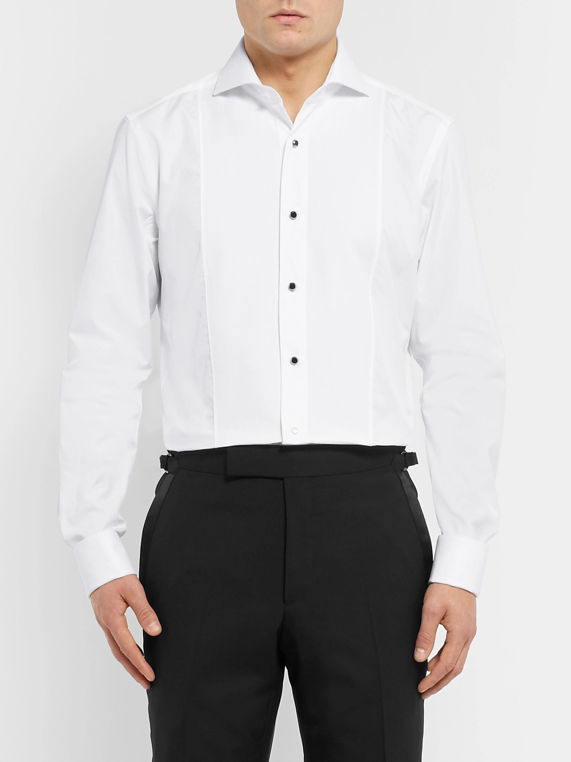 Hugo Boss White Slim-Fit Cutaway-Collar Bib-Front Cotton Shirt