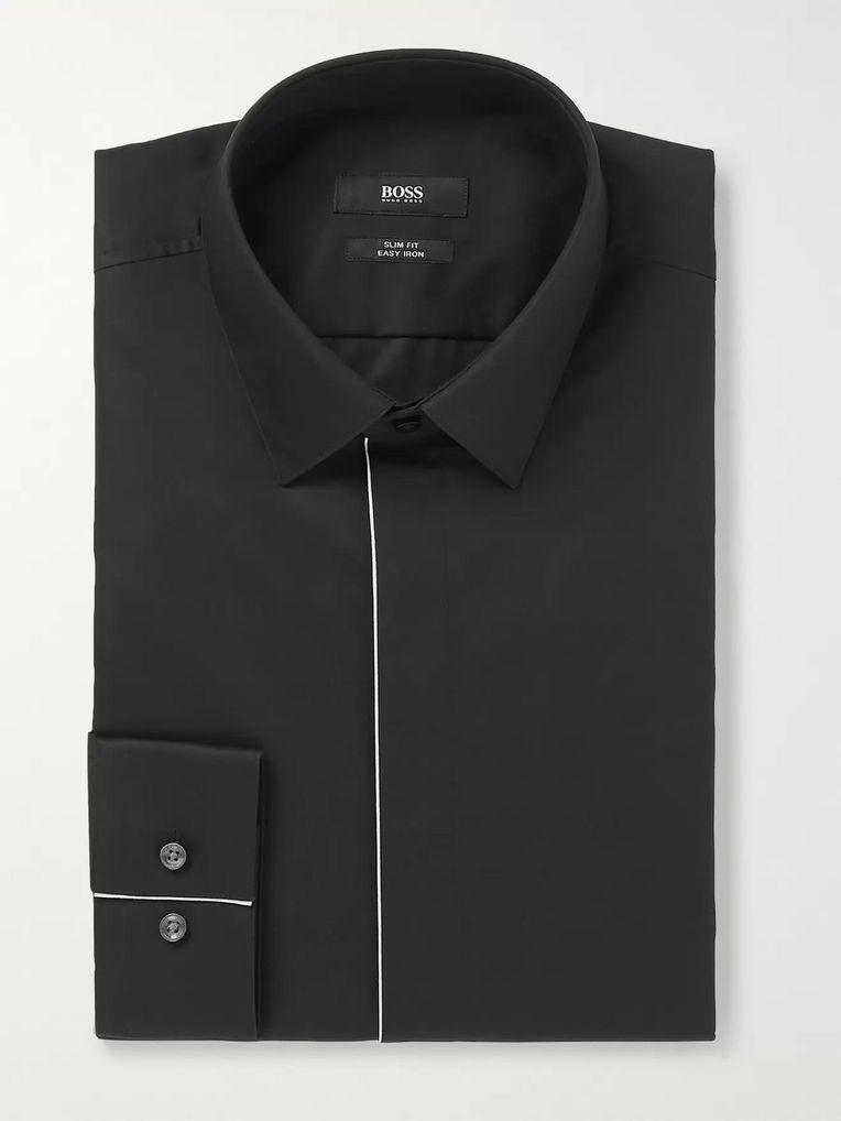 Hugo Boss White Ivan Slim-Fit Piped Cotton-Poplin Tuxedo Shirt