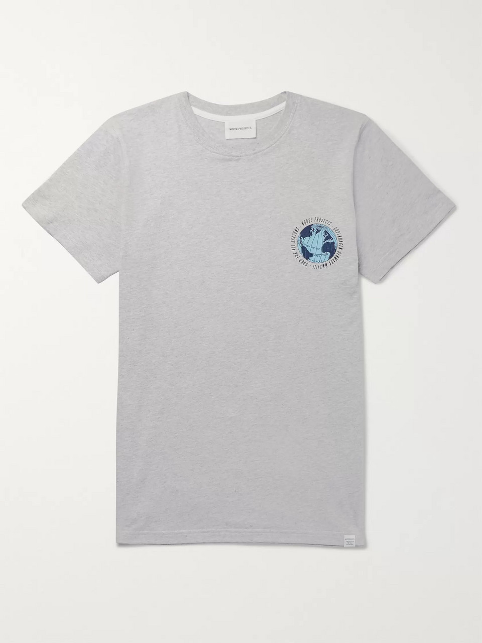 Norse Projects Niels Globe Printed Mélange Cotton-Jersey T-Shirt