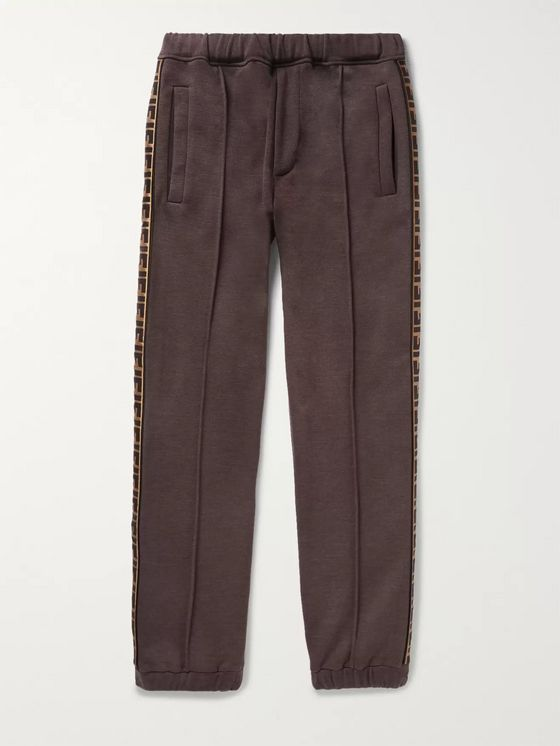 Fendi Slim-Fit Tapered Logo-Trimmed Cotton, Wool, Silk and Cashmere-Blend Sweatpants