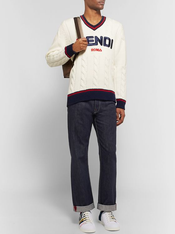 Fendi Logo-Appliquéd Denim Jeans