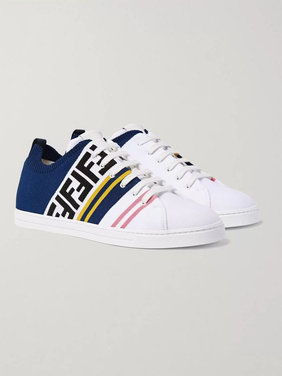 Fendi Logo-Jacquard Stretch-Knit Sneakers