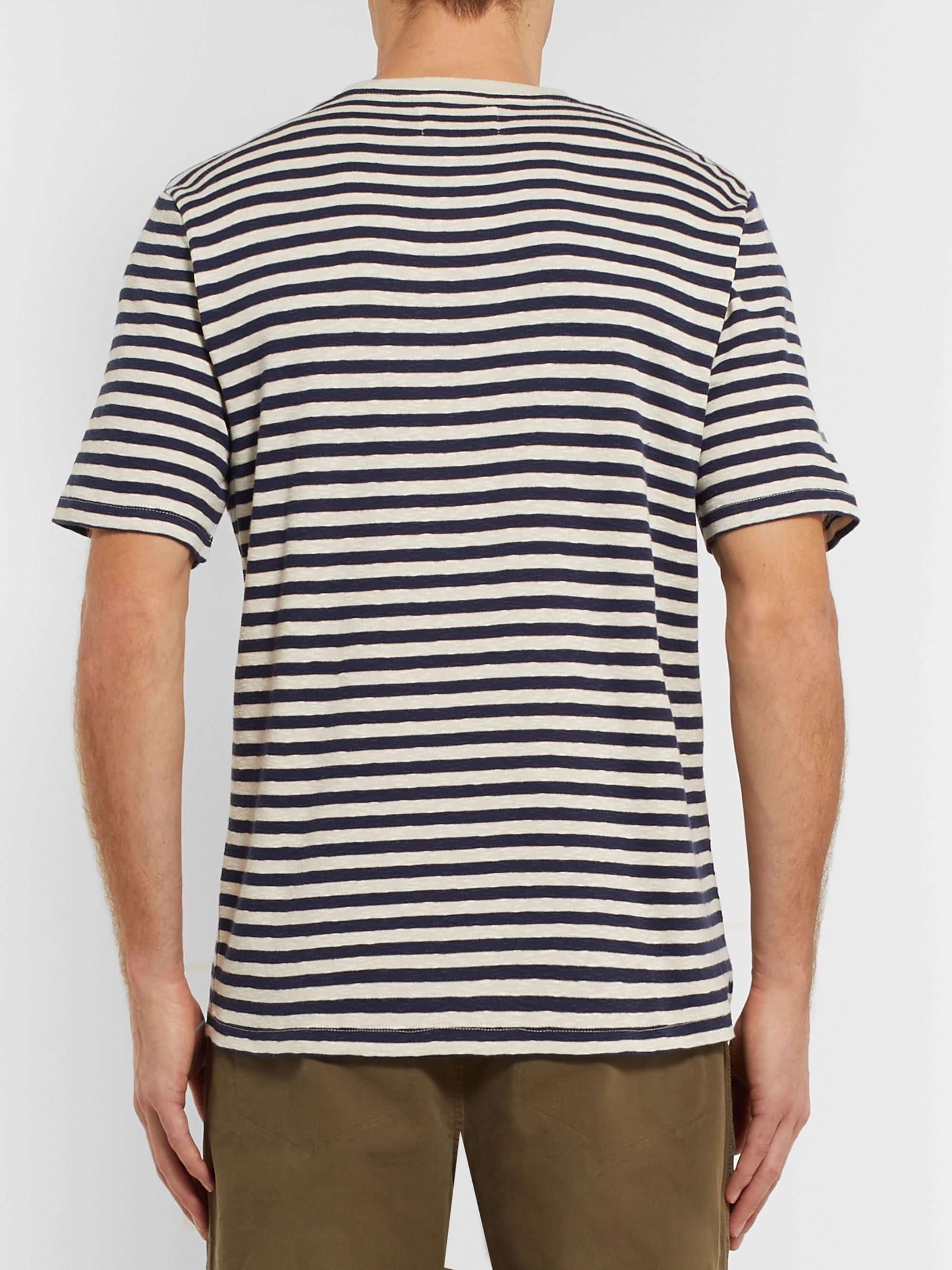 Folk Striped Slub Cotton-Jersey T-Shirt