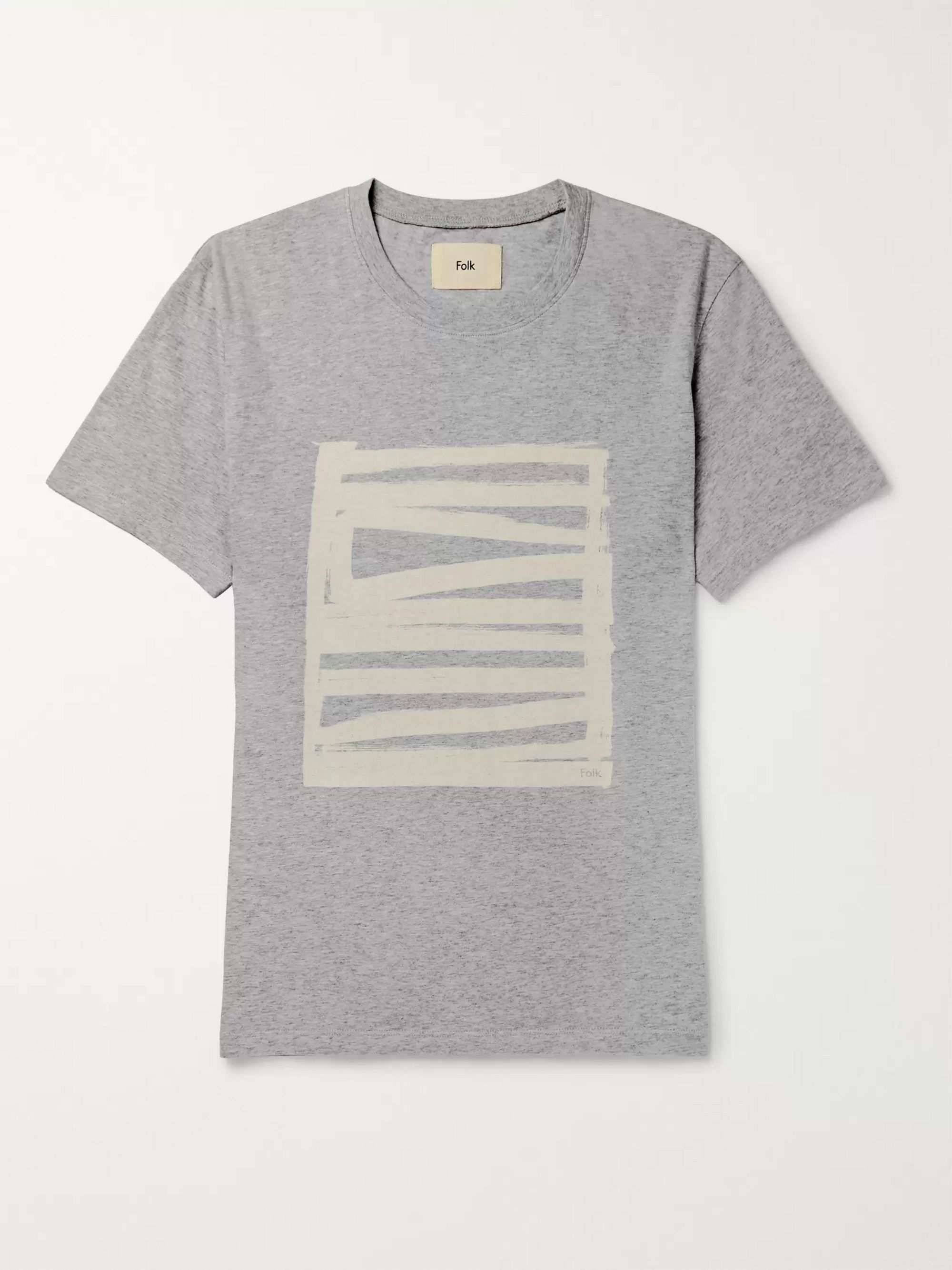Folk Printed Mélange Cotton-Jersey T-Shirt