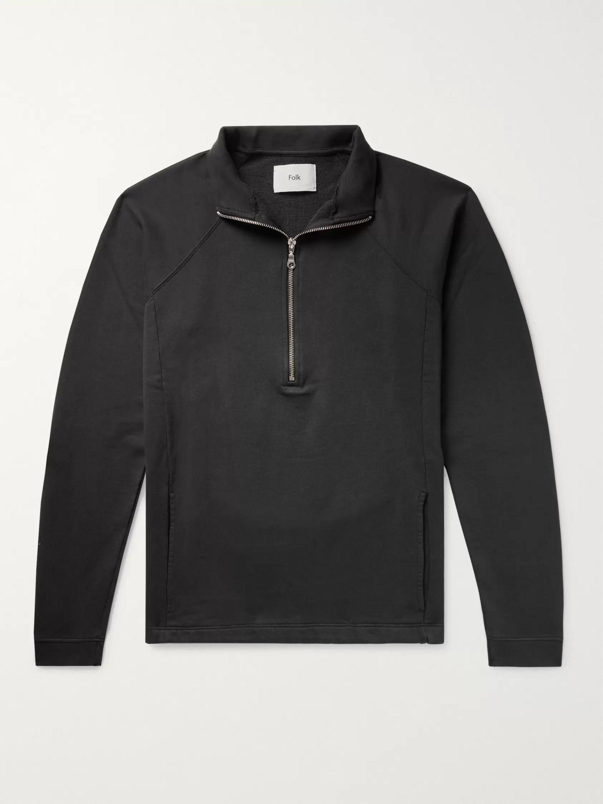 Loopback Cotton Jersey Half Zip Sweatshirt