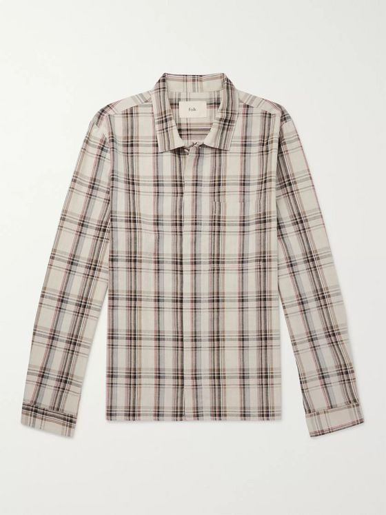 Folk Cutaway-Collar Checked Cotton Shirt