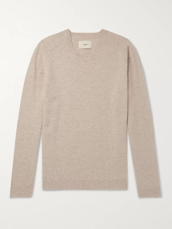 Folk Patrice Pointelle-Trimmed Mélange Wool Sweater