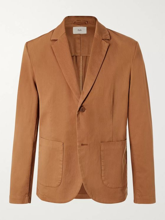 Folk Tan Garment-Dyed Stretch-Cotton Blazer