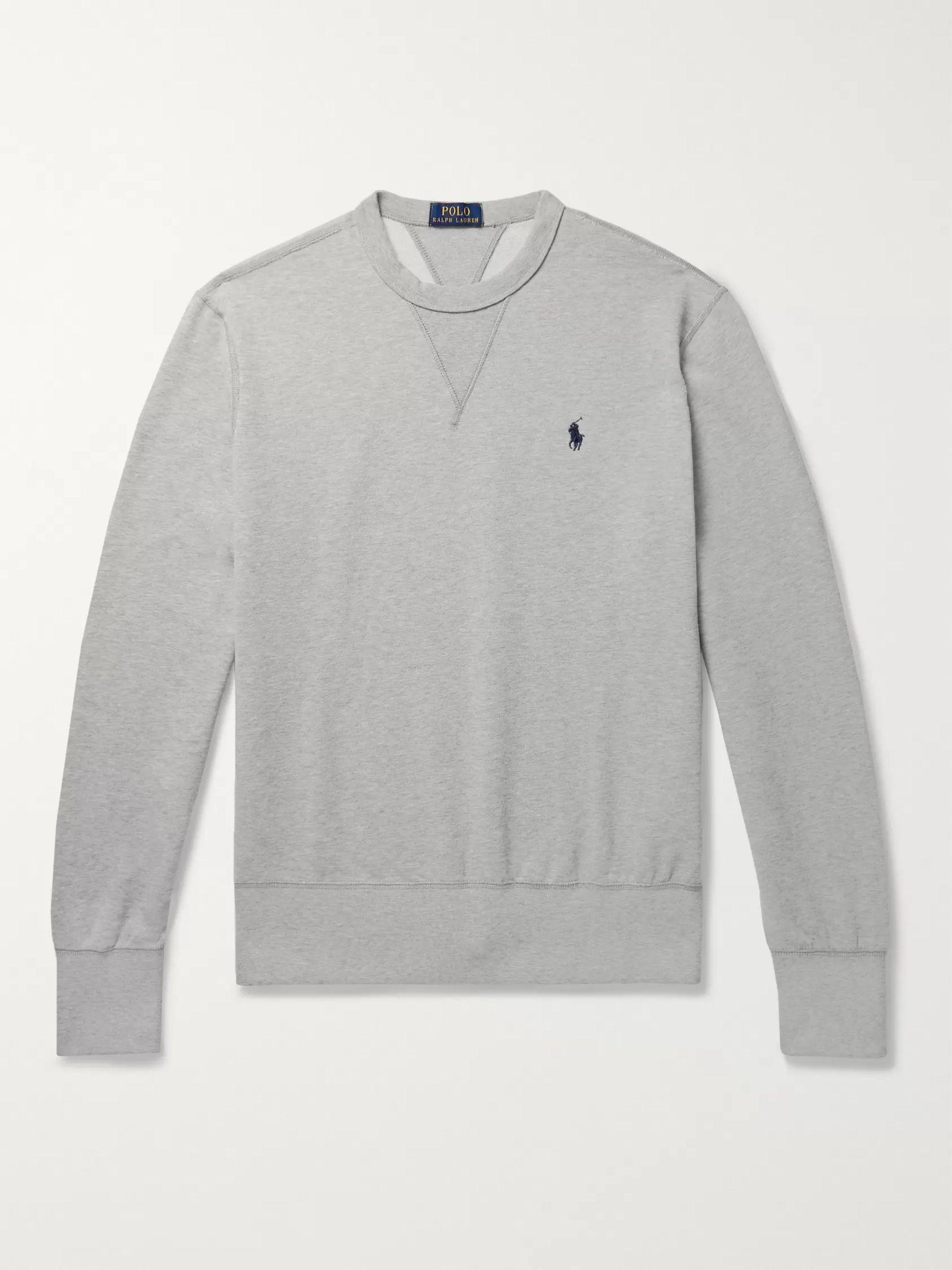 Mélange Fleece Back Cotton Blend Jersey Sweatshirt