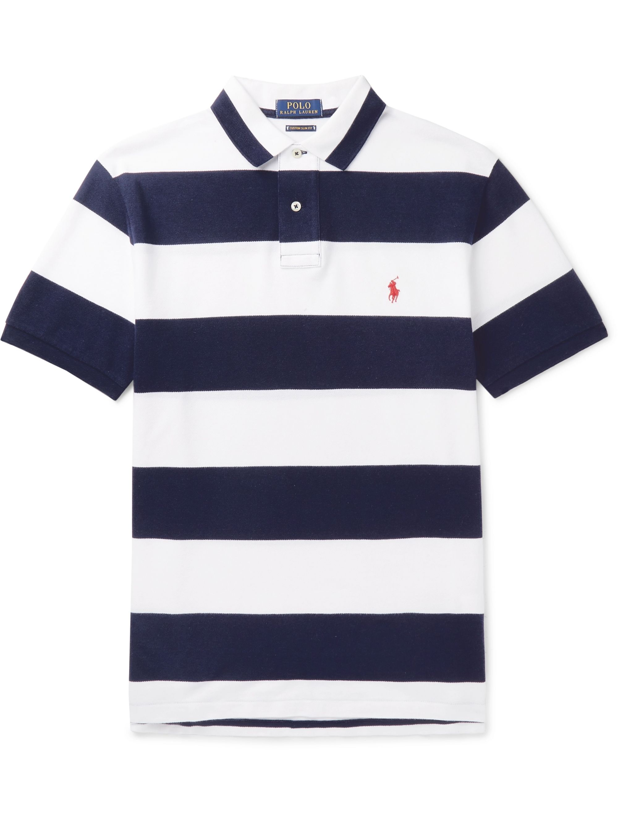 Slim Fit Striped Cotton Piqué Polo Shirt
