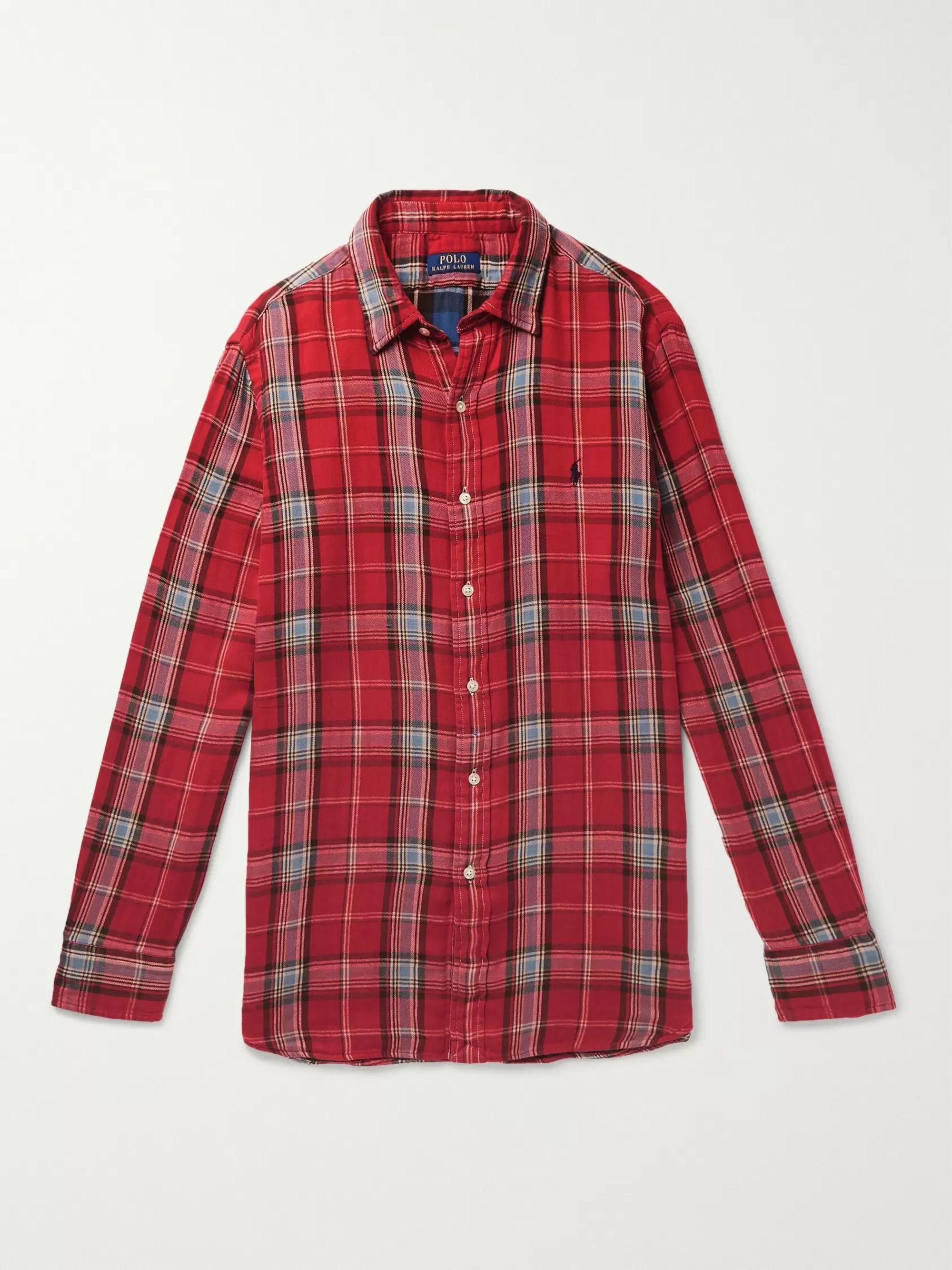 6f6cc1e3 Double-Faced Checked Cotton-Flannel Shirt