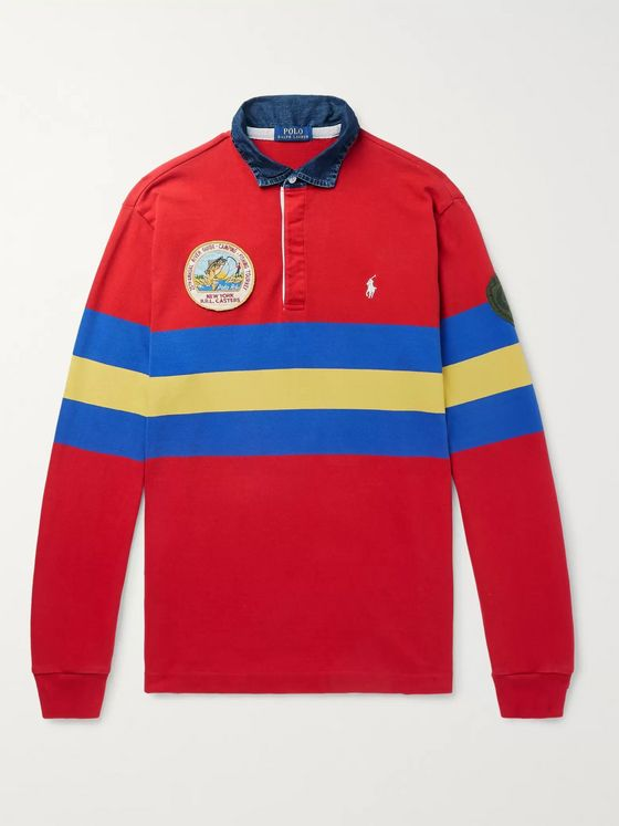 Polo Ralph Lauren Logo-Embroidered Appliquéd Striped Jersey Polo Shirt
