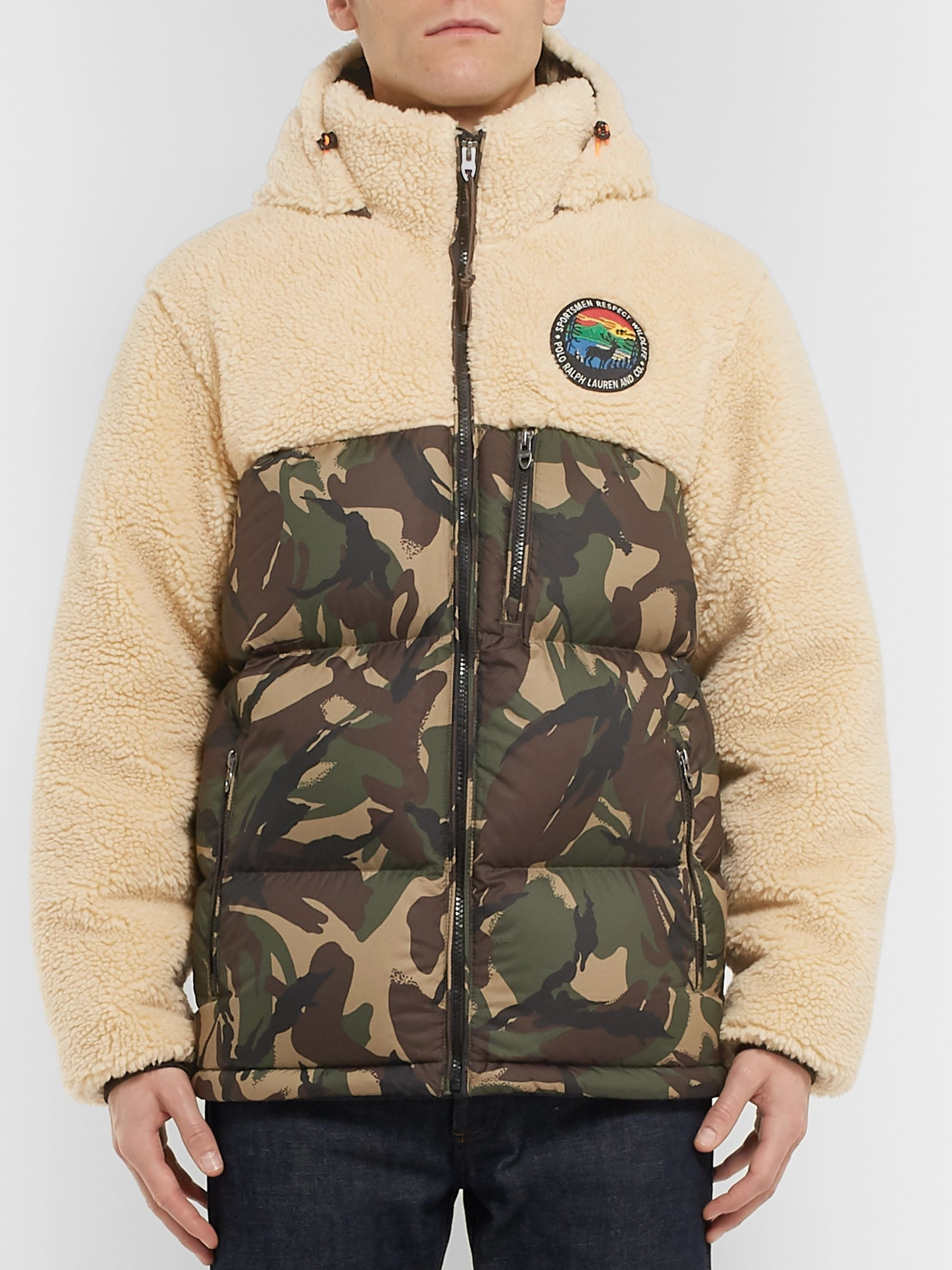 Polo Ralph Lauren Fleece and Quilted Camouflage-Print Shell Hooded Down Jacket