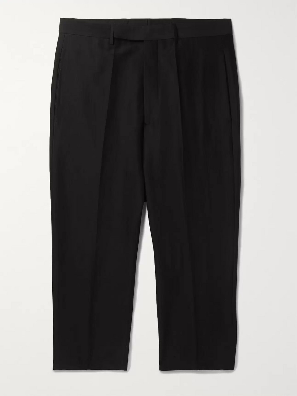 Rick Owens Black Cropped Cotton and Silk-Blend Trousers