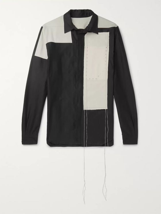 RICK OWENS Colour-Block Studded Cotton and Silk-Blend Shirt