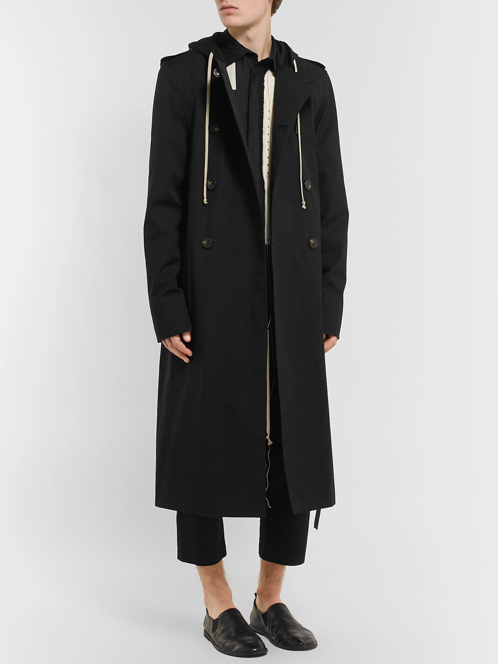 Rick Owens Double-Breasted Stretch-Cotton Gabardine Hooded Trench Coat