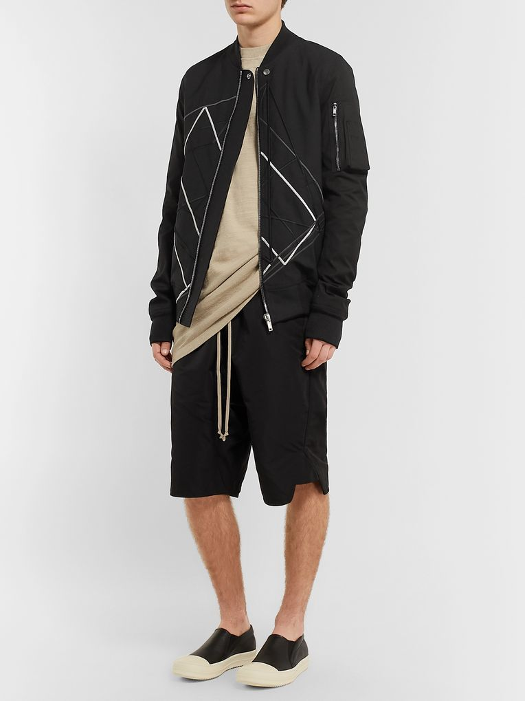 Rick Owens Embroidered Wool-Blend Bomber Jacket