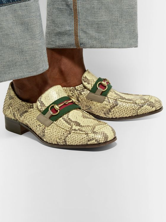 Gucci Bonny Horsebit Webbing-Trimmed Python Loafers
