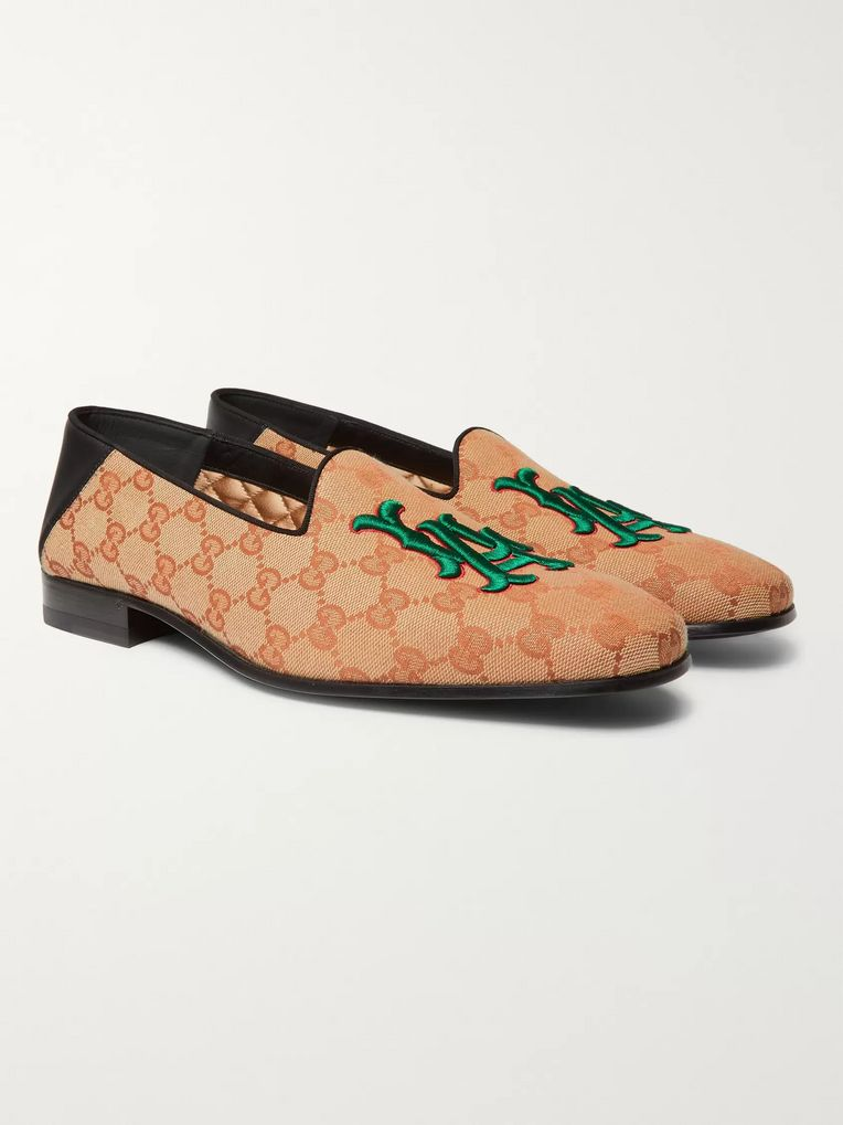 Gucci + Los Angeles Dodgers Gallipoli Collapsible-Heel Appliquéd Monogrammed Canvas Loafers