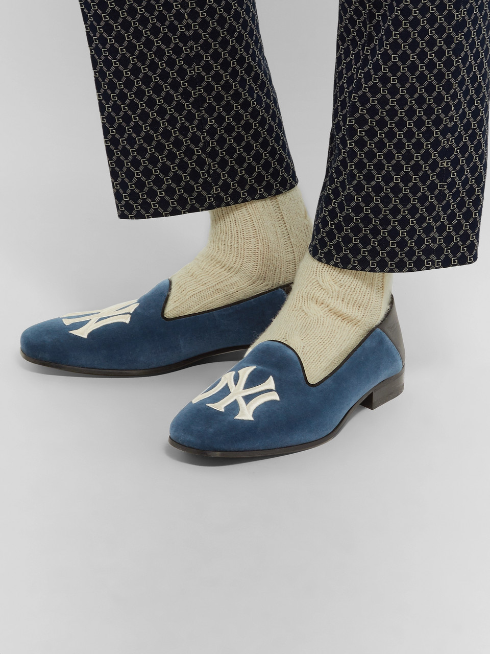 Gucci + New York Yankees Gallipoli Collapsible-Heel Leather-Trimmed Embroidered Velvet Loafers