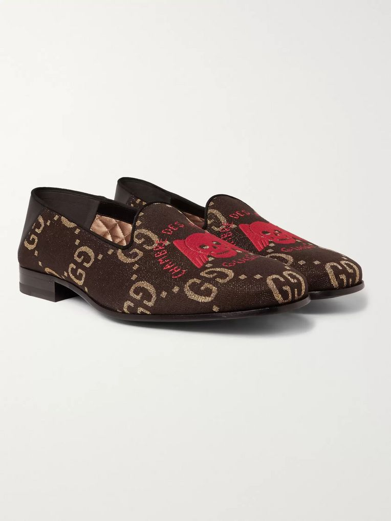 Gucci Gallipoli Collapsible-Heel Leather-Trimmed Embroidered Metallic Jacquard Loafers
