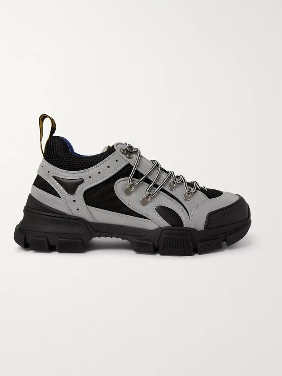 Gucci Flashtrek Reflective Rubber, Leather and Mesh Sneakers