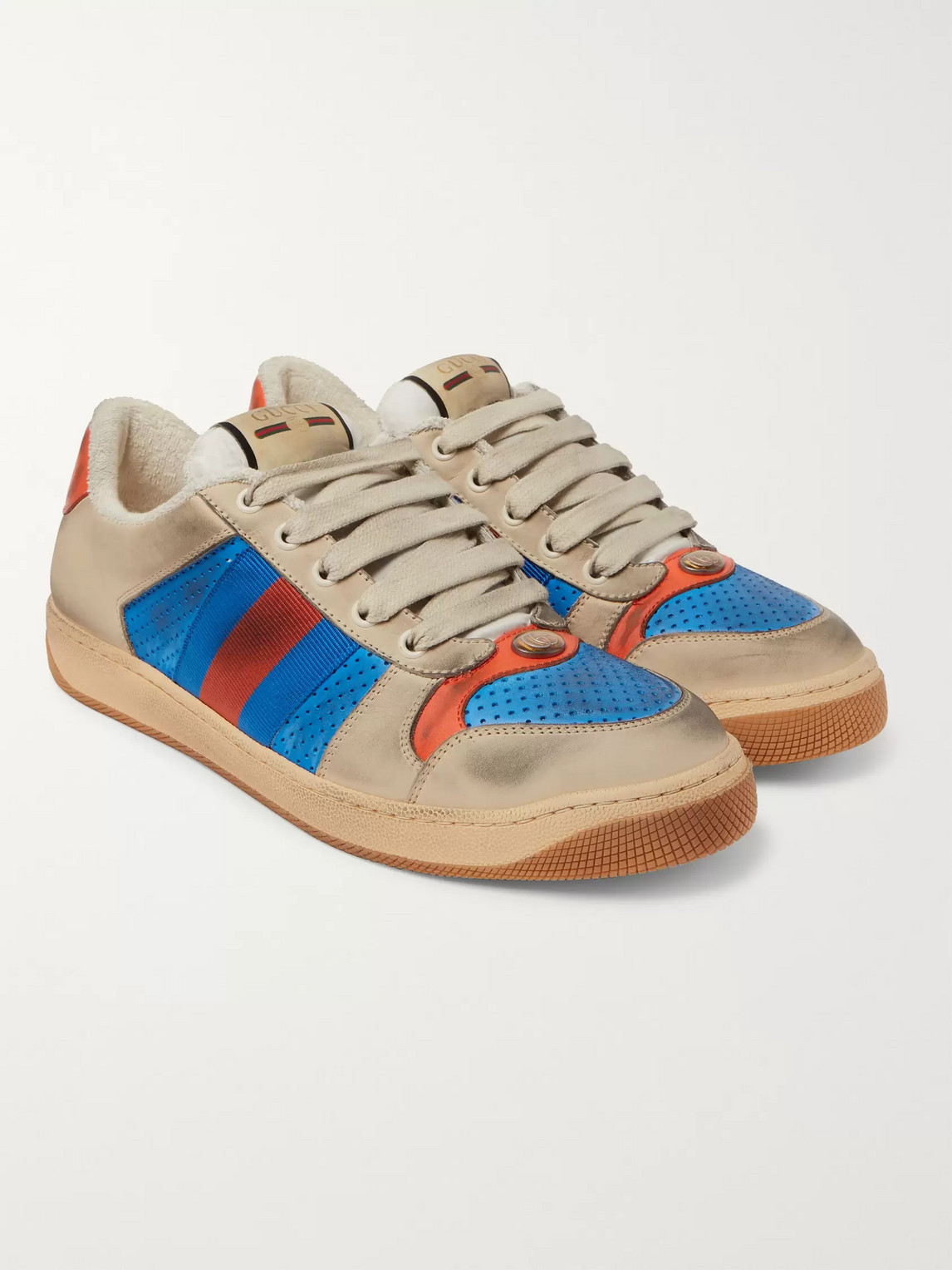 gucci - virtus distressed leather and webbing sneakers - men - blue