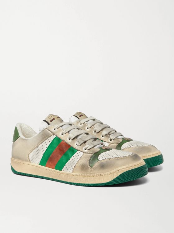 Gucci Virtus Distressed Leather and Webbing Sneakers