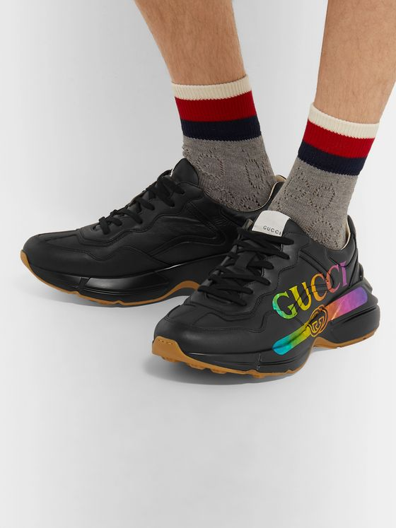 Gucci Rhyton Holographic Logo-Print Leather Sneakers