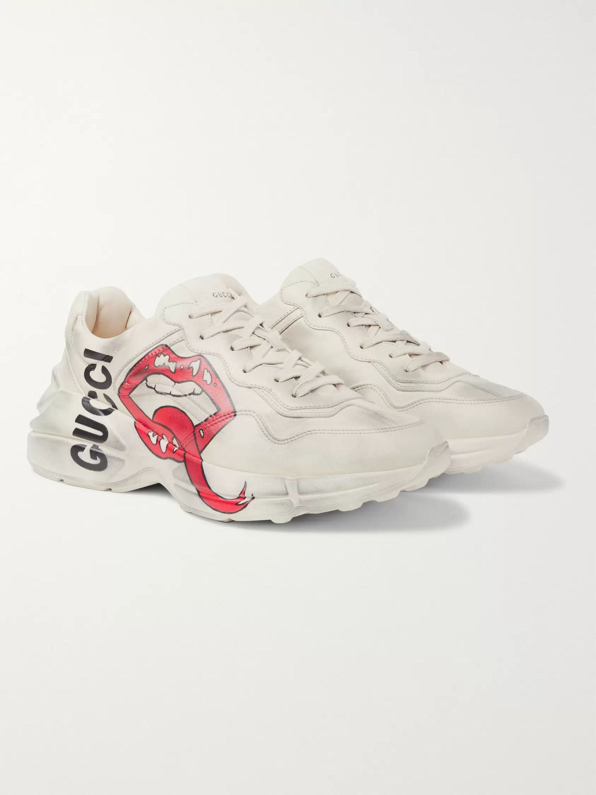 Gucci Rhyton Printed Distressed Leather Sneakers
