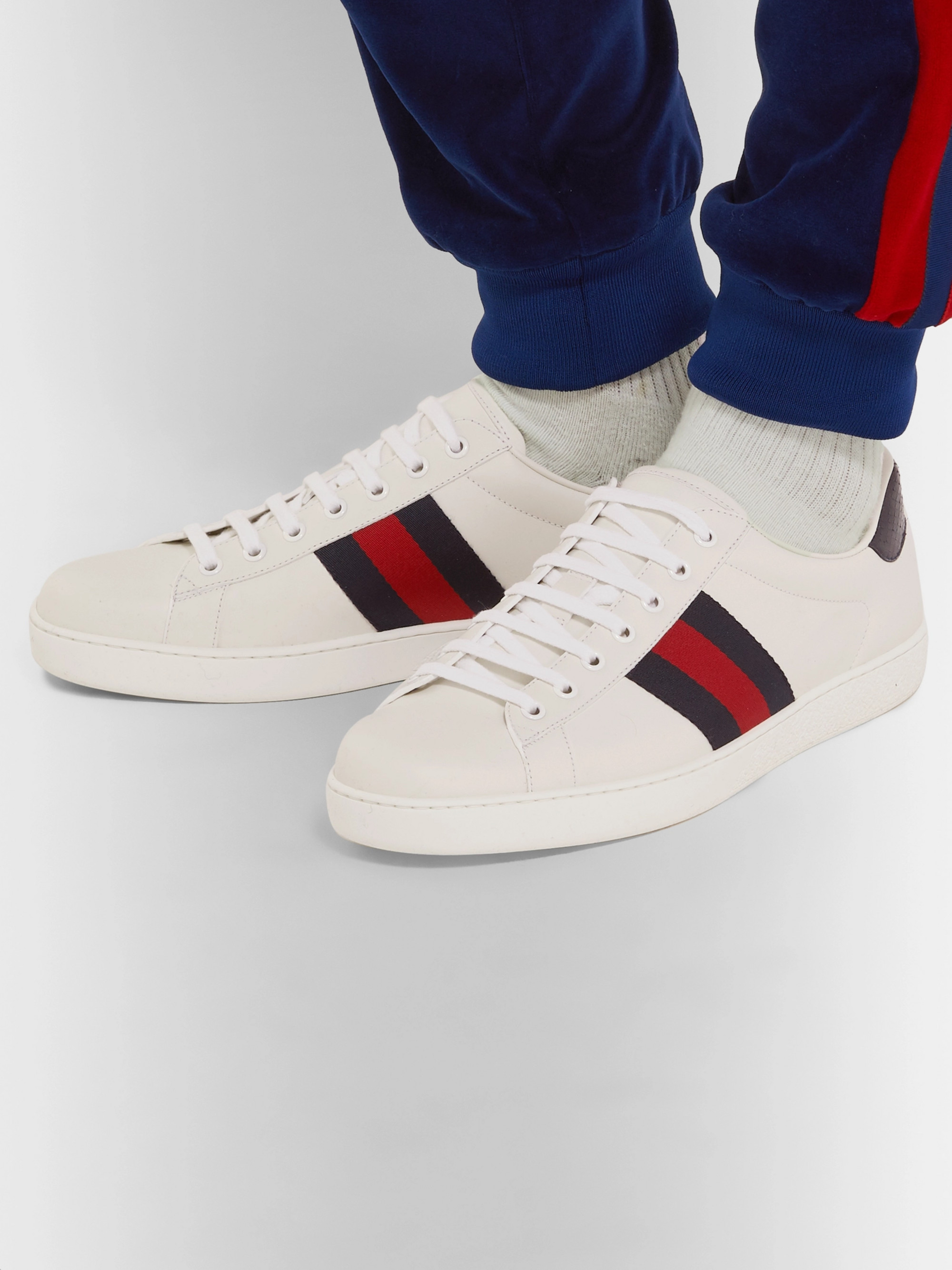 c94c9ae11 White Ace Snake-Trimmed Leather Sneakers | Gucci | MR PORTER