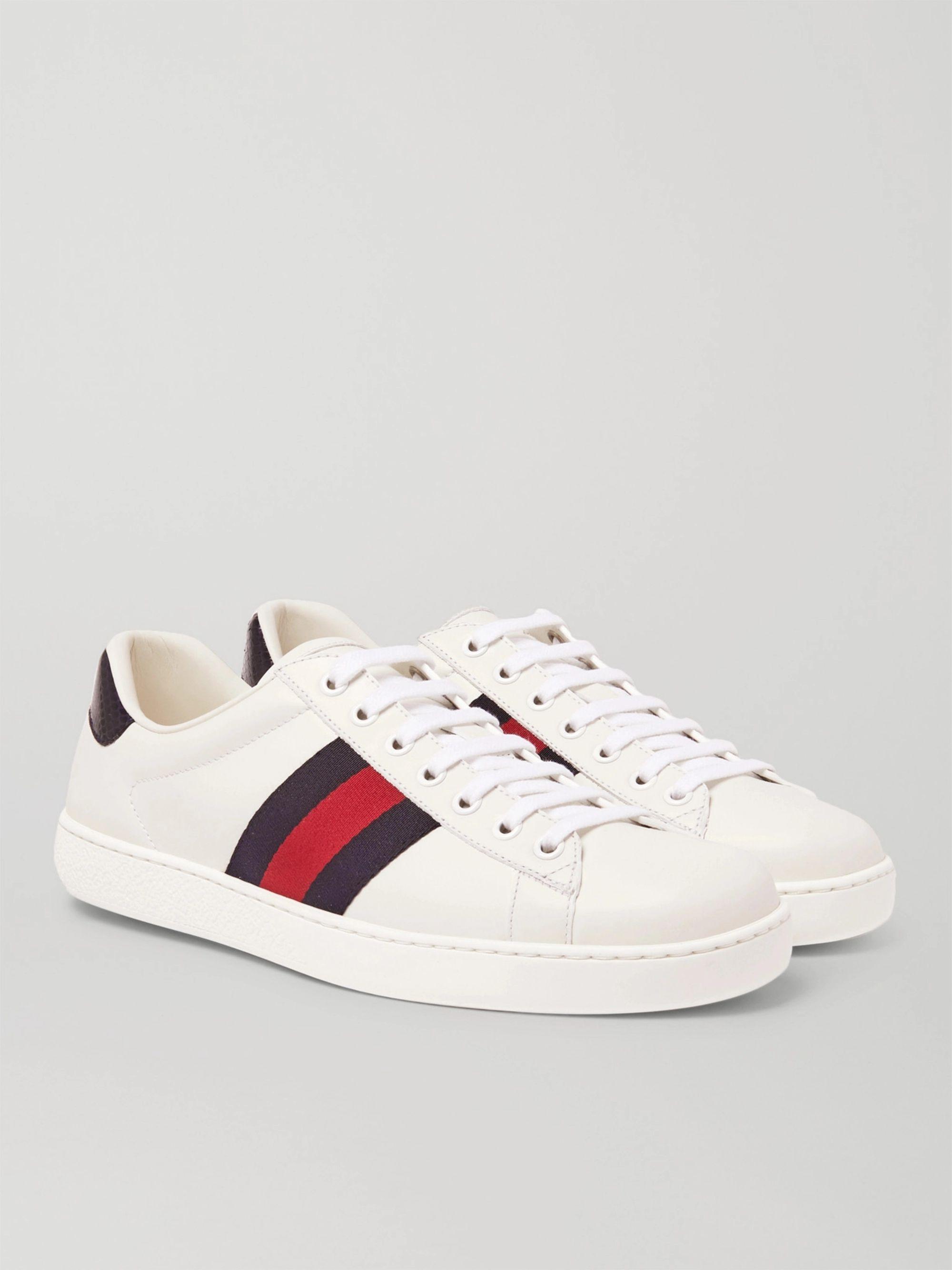 구찌 Gucci Ace Watersnake-Trimmed Leather Sneakers,White