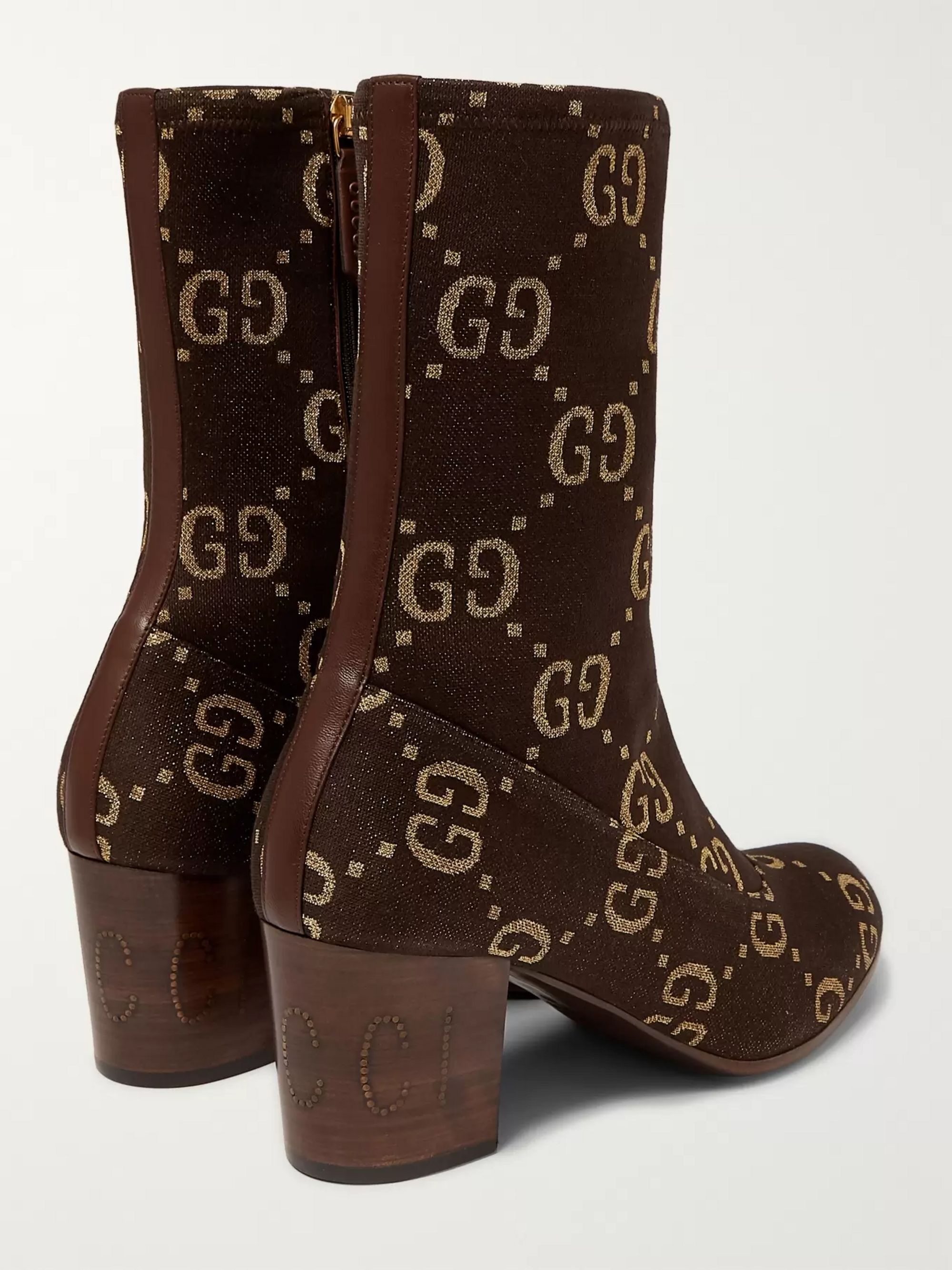 Gucci Leather-Trimmed Logo-Jacquard Boots