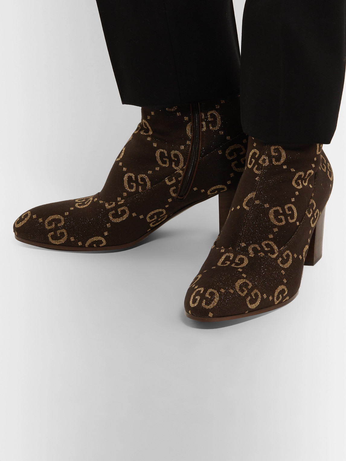 Gucci Boots LEATHER-TRIMMED LOGO-JACQUARD BOOTS