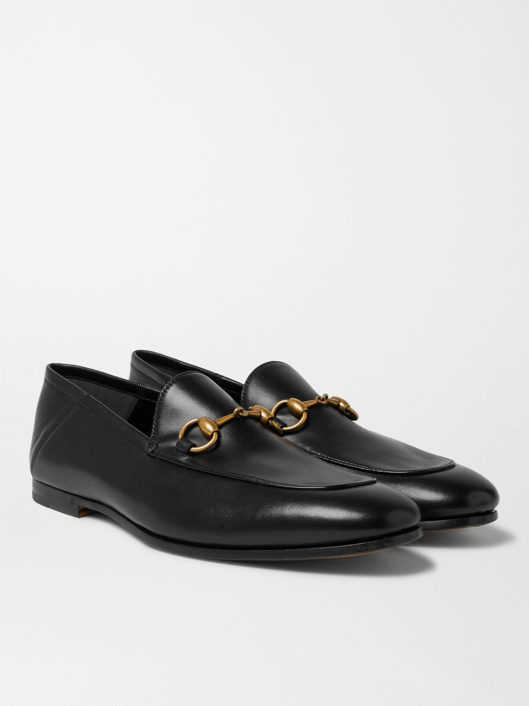 74e9a2c83 Black Brixton Horsebit Collapsible-Heel Leather Loafers | Gucci | MR ...
