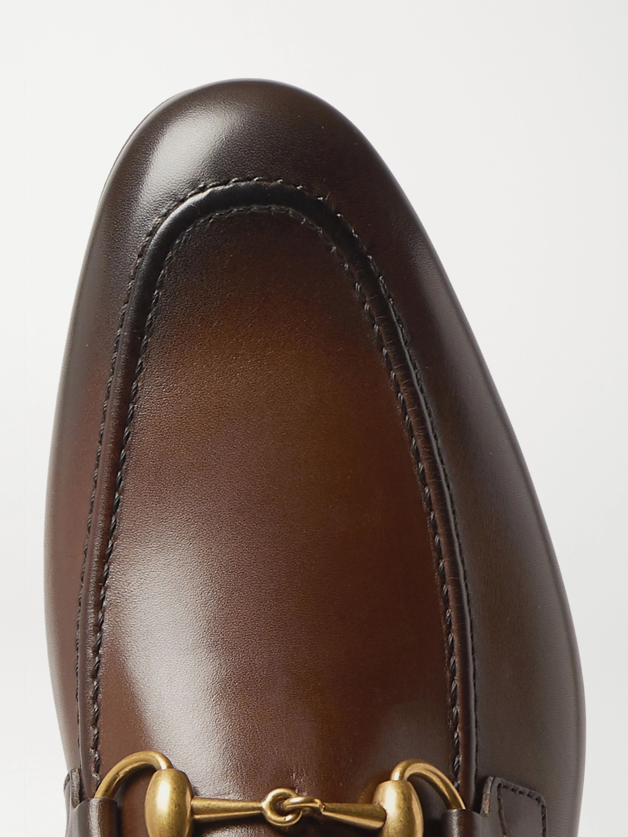 Gucci Jordaan Horsebit Burnished-Leather Loafers
