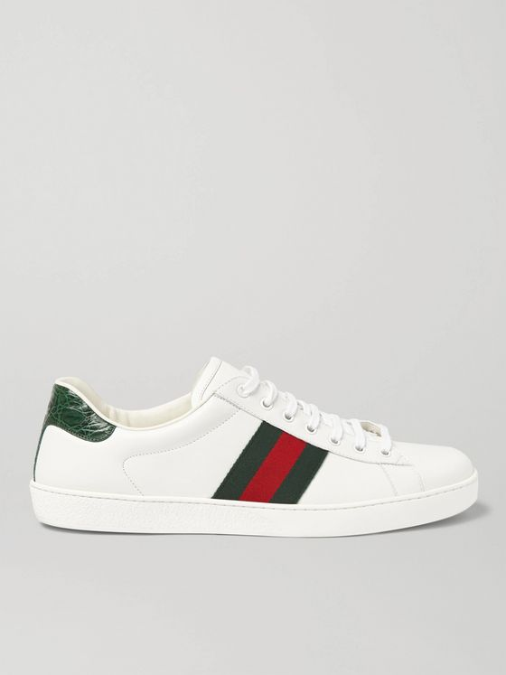 Gucci Ace Crocodile-Trimmed Leather Sneakers