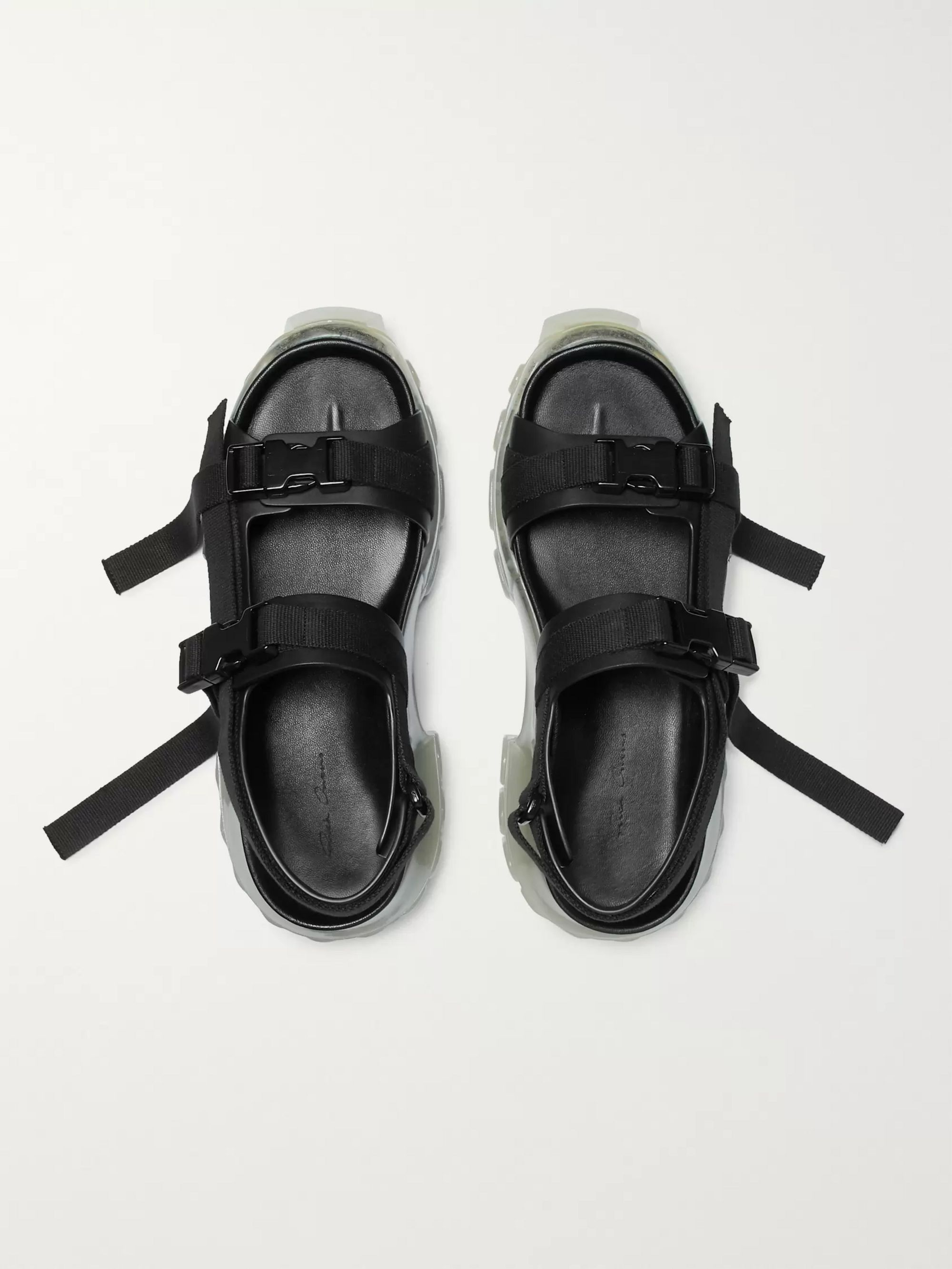 Tractor Webbing Trimmed Leather Sandals